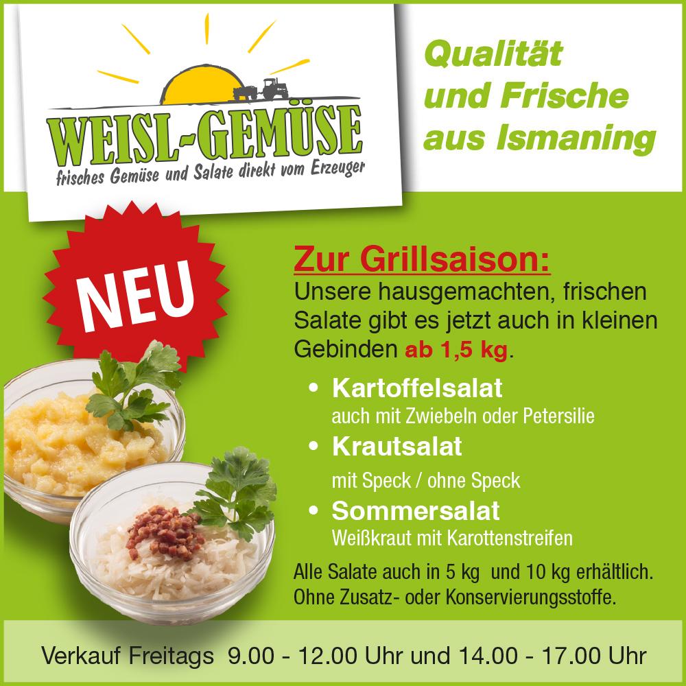 NEU zur Grillsaison: Weisl´s frische Salate auch in kleinen Gebinden!