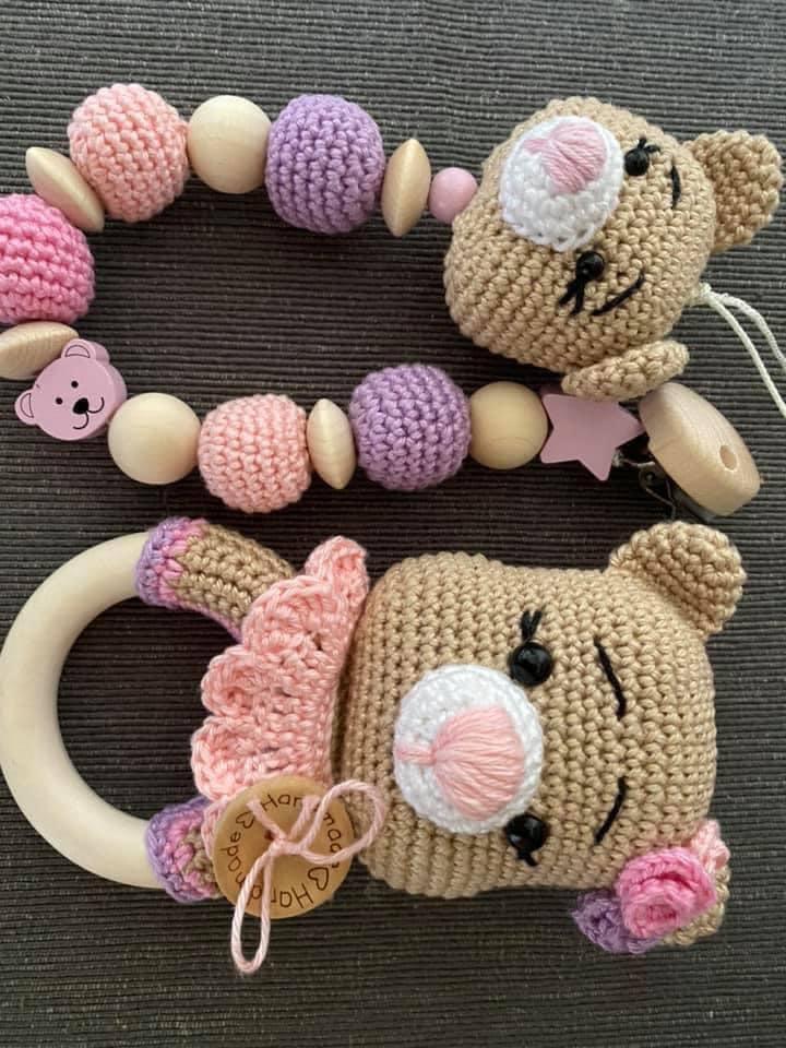 Greifling + Schnullerkette Bärenmädchen