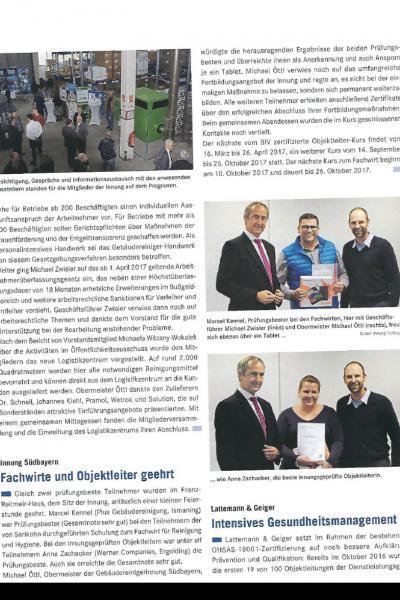Die Gebäudereiniger Innung Bayern ehrt Fachwirte mit Auszeichnung