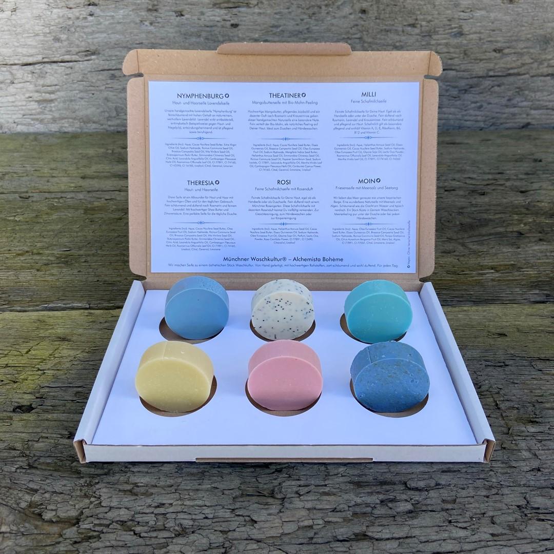 Waschkultur Probier-Set mit 6 verschiedenen, handgemachten Naturseifen